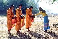 Buddhist Monks collecting food in the morning